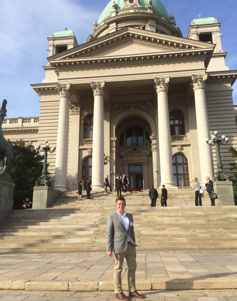 Photo of OSU student at the Macedonian Assembly