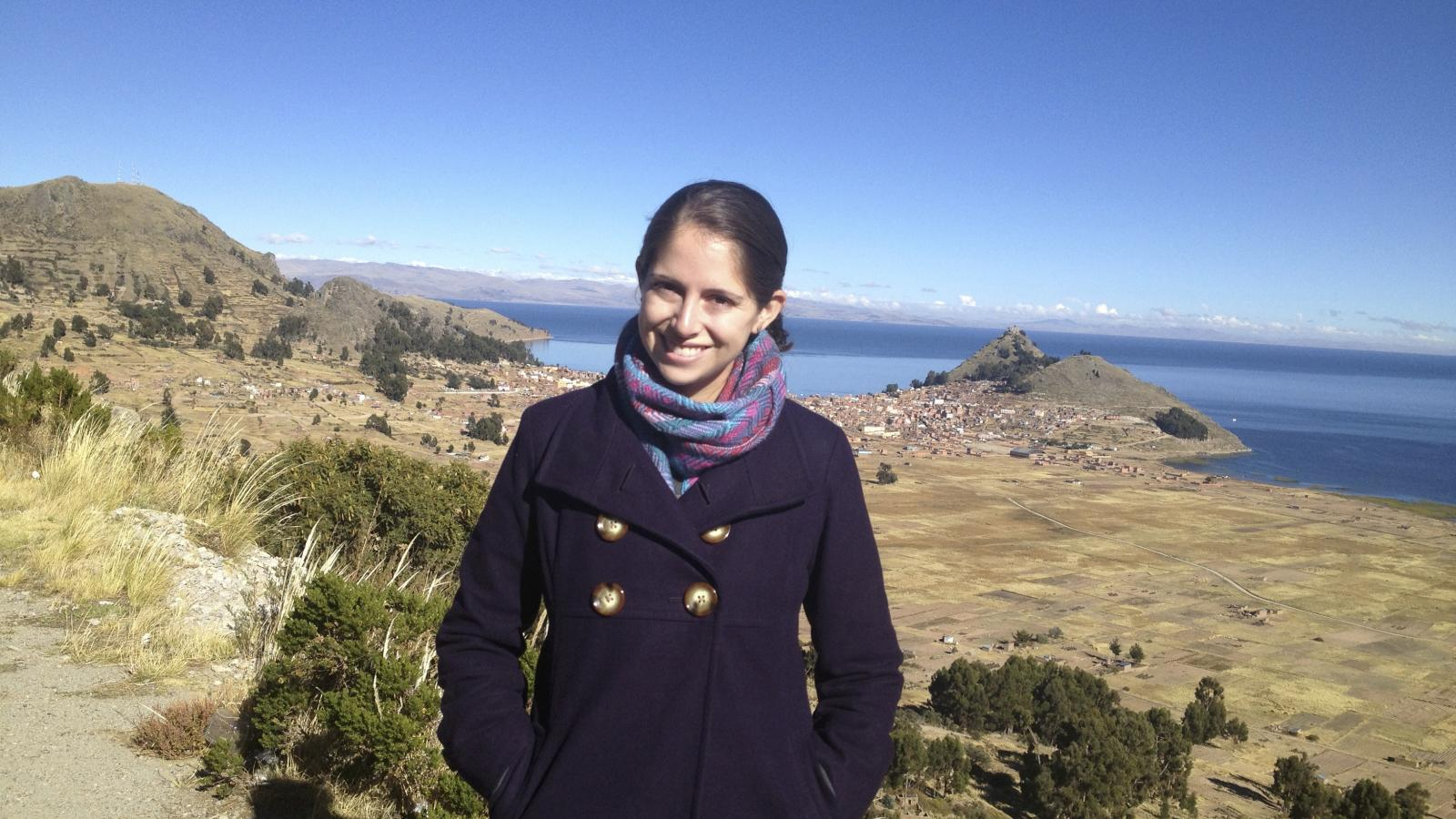PhD Student Alex Castillo at Lake Titicaca, Bolivia