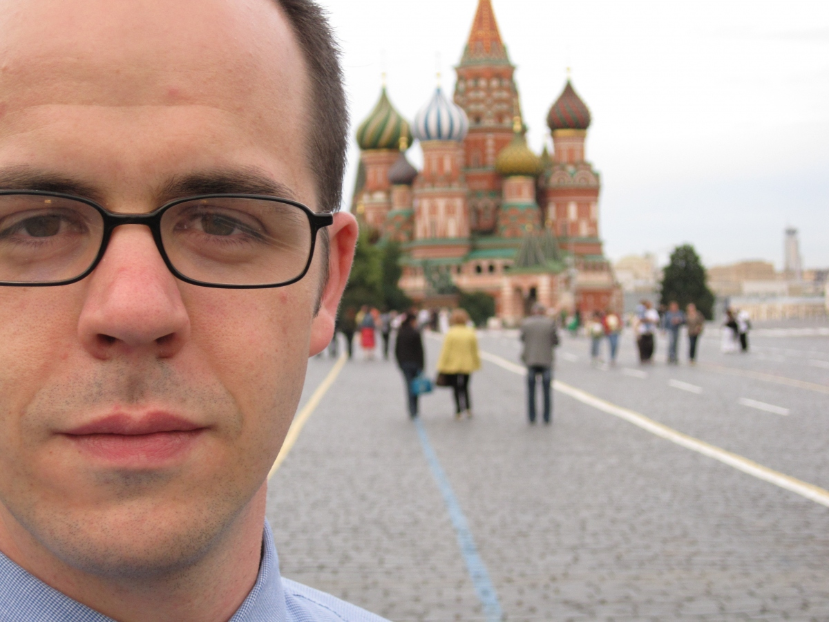 PhD Student Quintin Beazer, in Red Square, in Moscow, Russia.