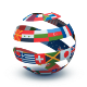multipal national flags forming a globe